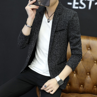 Korean-style Spring and Autumn male small suit (Black)