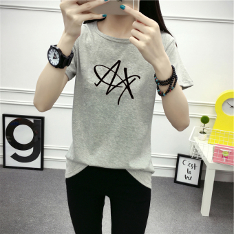 Korean-style white female slimming LOOESN short sleeved t-shirt (Gray)