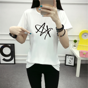 Korean-style white female slimming LOOESN short sleeved t-shirt (White)