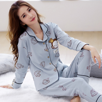Korean-style women's cotton long-sleeved thick tracksuit pajamas (A6944 #)