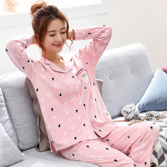 Korean-style women's cotton long-sleeved thick tracksuit pajamas (QF2703 #)