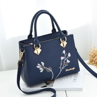 Korean-style women's shoulder handbag women's bag shoulder bag (Dark blue + to send wallet)