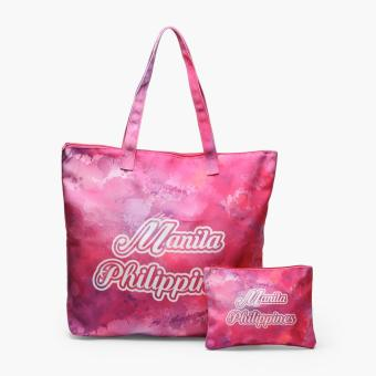 Kultura Watercolor Manila Tote Bag And Pouch Set Pink