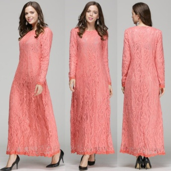 Lace Muslim dress women muslim clothes muslim women long dressislamic clothing for women islamic prayer dress- Pink - intl
