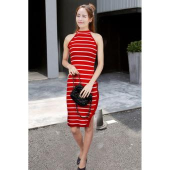 Ladies' Summer Over-the-neck Stretchable Halter Midi Dress(Red)