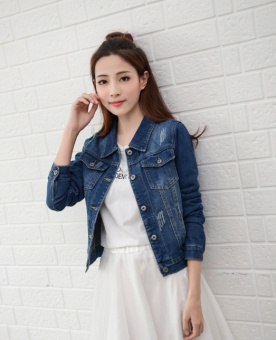 Lady size denim long sleeve jacket short coat - intl