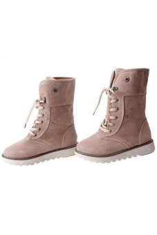 LALANG Fashion Women Winter Boots Shoes Casual Warm Matte SnowBoots Beige