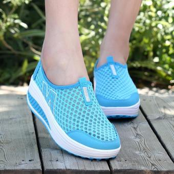 LALANG New Height Increasing Shoes Casual Women Swing Breathable Wedges Shoes Blue