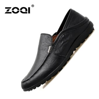 Leather Shoes ZOQI Men's Fashion Casual Shoes Low Cut Formal Shoes (Black) - intl