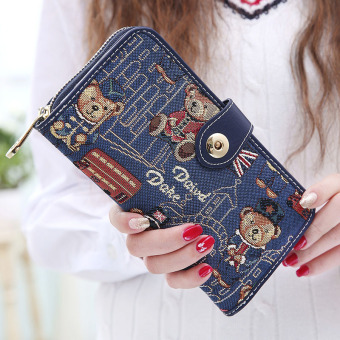 Linjiaxiaofei cute female New style and practical leather wallet women's wallet (Blue)