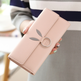 Linjiaxiaofei Japan and South Korea female student three fold clutch bag New style wallet (Pink)