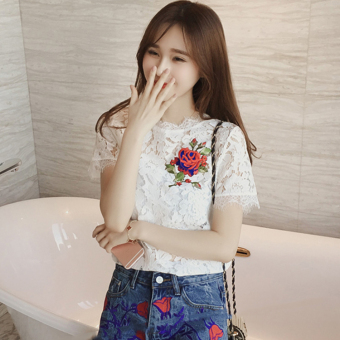 LOOESN college style embroidered Spring and Autumn New style chiffon lace shirt (White)
