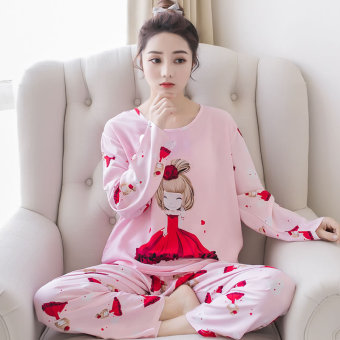 LOOESN Korean-style cotton silk female summer tracksuit pajamas (Long-sleeved Camellia girl)