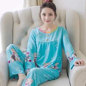 LOOESN Korean-style cotton silk female summer tracksuit pajamas (Long-sleeved five angle-shaped blue)