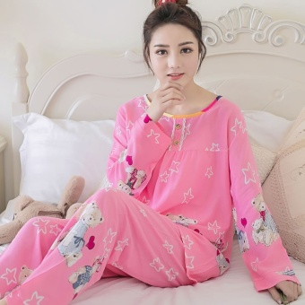 LOOESN Korean-style cotton silk female summer tracksuit pajamas (Long-sleeved five angle-shaped Powder)