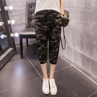 LOOESN Korean-style Female Summer elastic waist cotton casual pants Capri pants (Closing foot version-fans multi-color)