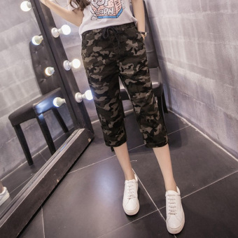 LOOESN Korean-style Female Summer elastic waist cotton casual pants Capri pants (Not closing foot version-fans multi-color)