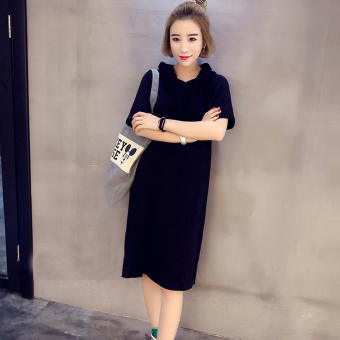 Loose cotton new long section short-sleeved t-shirt dress (Black)
