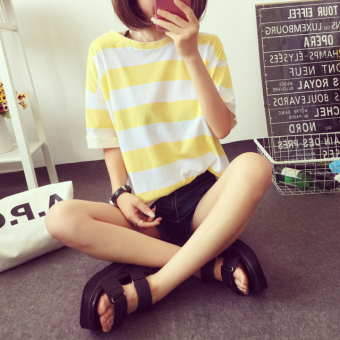 Loose Korean-style color female student Striped t-shirt short-sleeved Top (Yellow)