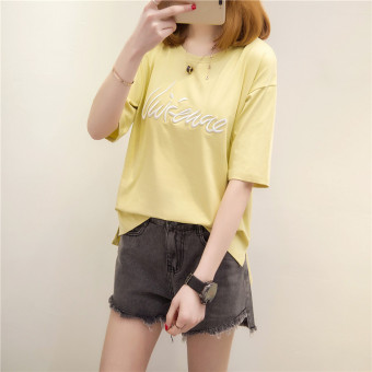 Loose Korean-style cotton female short-sleeved student Top T-shirt (Yellow)