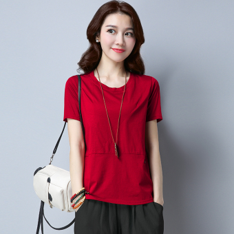 Loose Korean-style cotton solid color New style Top T-shirt (Wine red)