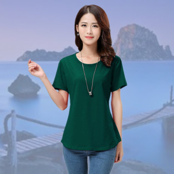 Loose Korean-style cotton solid color summer T-shirt (Dark green color) (Dark green color)