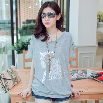 Loose Korean-style new long section off-the-shoulder T-shirt (Light gray color)