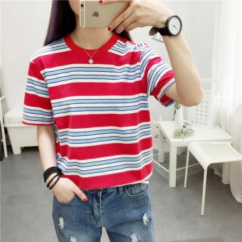Loose Korean-style New style student style Striped short sleeved t-shirt female Top (Red) (Red)