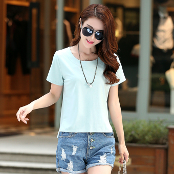 Loose Korean-style New style summer short-sleeved t-shirt (Gray-green color)