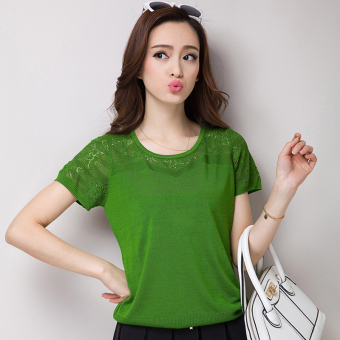 Loose Korean-style round neck hedging hollow bat (Grass green)