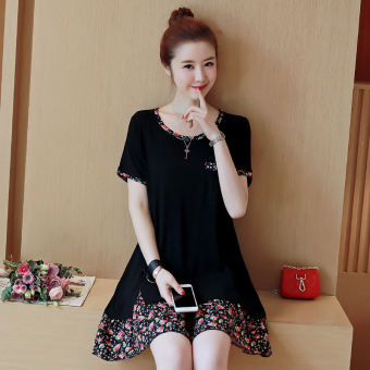 Loose Korean-style solid color female long section dress T-shirt