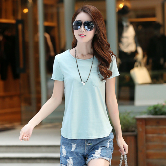 Loose Korean-style solid New style summer T-shirt (Gray-green color)