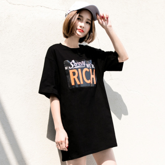 Loose Korean-style spring and summer letters long section T-shirt (Black)