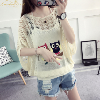 Loose Korean-style thin section hollow hedging sweater T-shirt (Cat Head Eagle)