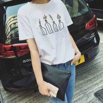 Loose simple summer T-shirt (5153 white) (5153 white)