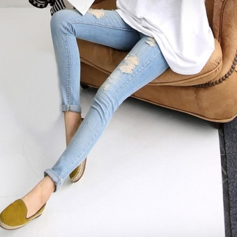 Maternity Holes Elastic Jeans Pants Pregnancy Denim Clothes Pregnant Women Belly Trousers - intl