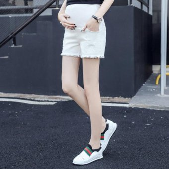 Maternity White Denim Shorts Pregnant Women Ripped Hole PocketJeans Shorts Fashion Belly Pants Maternity Shorts 2017 Summer New(White) - intl