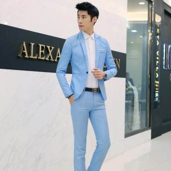 Men Formal Wedding Bridegroom Suit One Button Slim Fit Jacket Tuxedos Coat Pants(Sky Blue) - intl