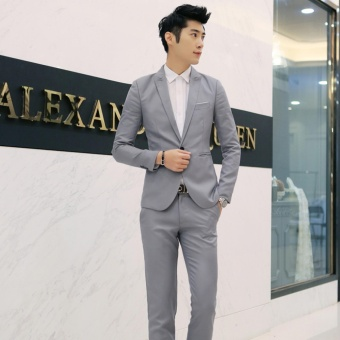 Men Formal Wedding Bridegroom Suit One Button Slim Fit JacketTuxedos Coat Pants - intl