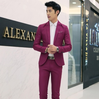 Men Formal Wedding Bridegroom Suit One Button Slim Fit JacketTuxedos Coat Pants(Wine Red) - intl