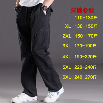Men Plus-sized multi-with pockets trousers thin casual pants (2012 black)