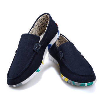 Men Spring and Autumn Fashion Simple Loafers - Blue - picture 2