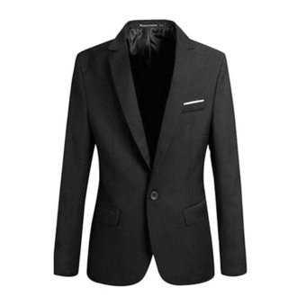 Men's Casual One Button Slim Fit Suit Coat Jacket (Black) - intl