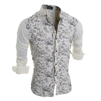 Men's Floral Print Long Sleeve Turn-down Collar POLO Shirt