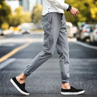Men's quick-drying breathable stretch casual pants thin sports pants (Gray)