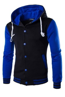 Mens Hoodie Drawstring Baseball Jacket (Black/Blue) (Intl)