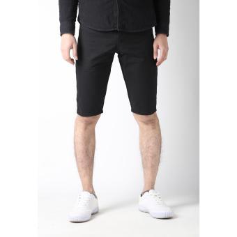Men's Korean Style Casual Simple Plain Short (Black)