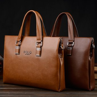 Mens Leather Portable Handbag Laptop Business Briefcase OneShoulder Transverse Bags for Office (Coffee / Horizontal) - intl
