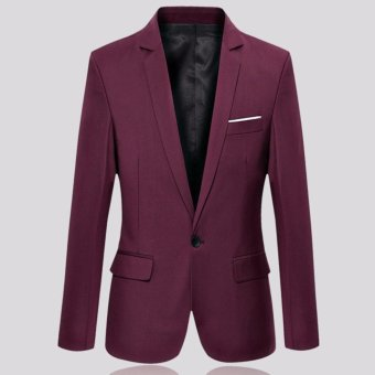 Men's Slim Fit Stylish Casual One Button Suit Coat Jacket BusinessBlazers Men Coat High Quality Men Blazers Burgundy - intl