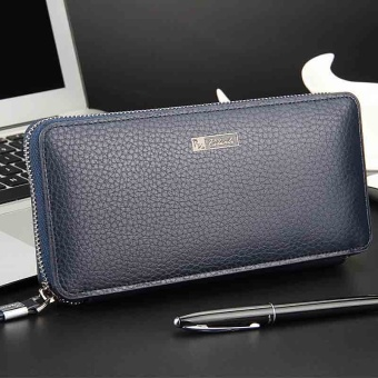 Mens Solid High-grade Leather Zipper Wallet Male Business Clutch Purse Cellphone Bag Blue - Intl